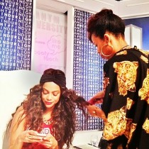 Tyra Banks getting her hair did